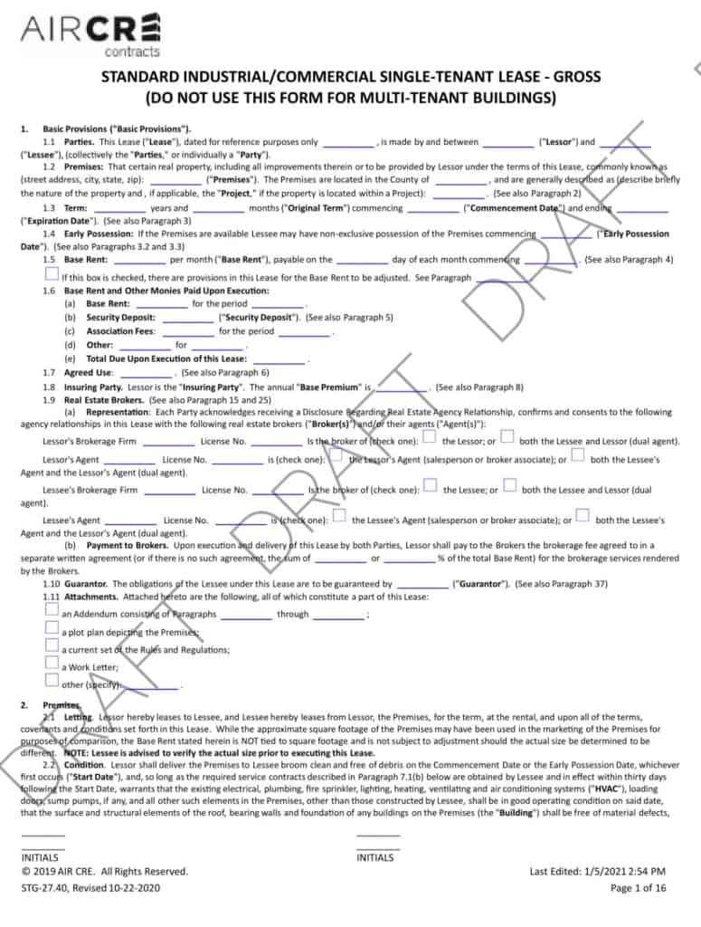 AIR CRE Contracts (First Page)